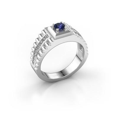 Foto van Rolex stijl ring Maikel 585 witgoud saffier 4.2 mm