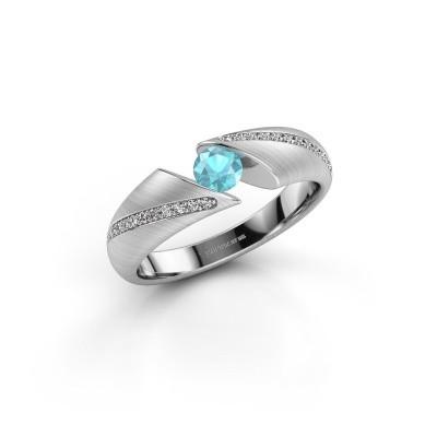 Foto van Ring Hojalien 2 950 platina blauw topaas 4 mm