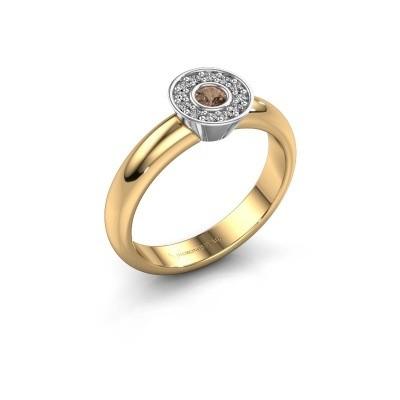 Bague Fiene 585 or jaune diamant brun 0.17 crt