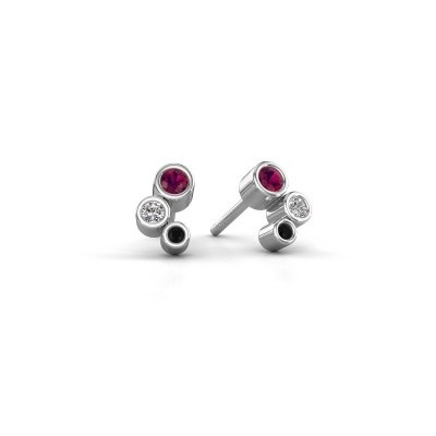 Picture of Stud earrings Marlys 925 silver rhodolite 2.5 mm