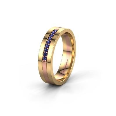 Trouwring WH0413L15AP 585 rosé goud saffier ±5x1.7 mm