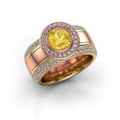 Foto van Ring Roxie 585 rosé goud gele saffier 6.5 mm