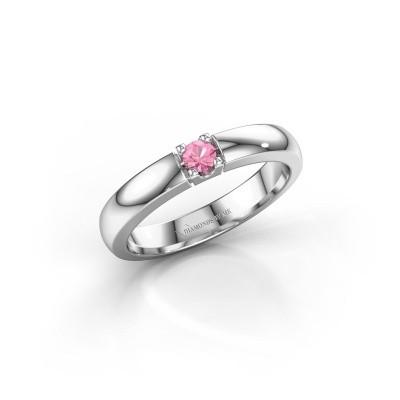Foto van Verlovingsring Rianne 1 585 witgoud roze saffier 3 mm