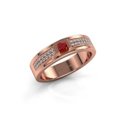 Bague Chanell 375 or rose rubis 3 mm