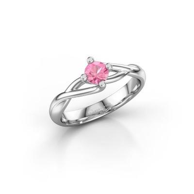 Foto van Ring Paulien 585 witgoud roze saffier 4.2 mm
