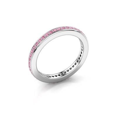Aanschuifring Elvire 2 925 zilver roze saffier 1.2 mm