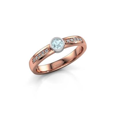 Engagement ring Ise 2 585 rose gold aquamarine 3.7 mm