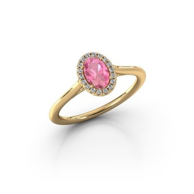 Engagement ring Seline 1 375 gold pink sapphire 6x4 mm