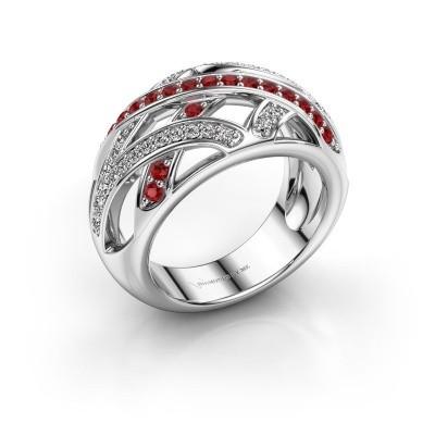 Ring Yinthe 925 zilver robijn 1.5 mm