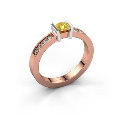 Aanzoeksring Maryam 585 rosé goud gele saffier 4 mm