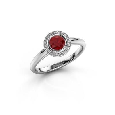 Foto van Promise ring Noud 1 RND 585 witgoud robijn 4.7 mm