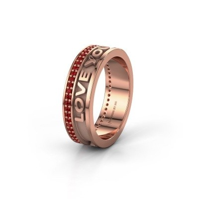 Trouwring Namering 2 375 rosé goud ±6x2 mm