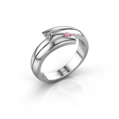 Ring Dena 585 witgoud roze saffier 2 mm