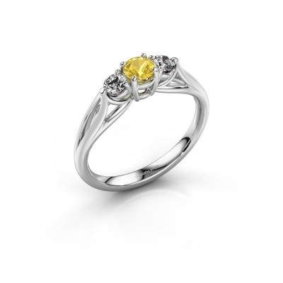 Picture of Engagement ring Amie RND 950 platinum yellow sapphire 4.2 mm