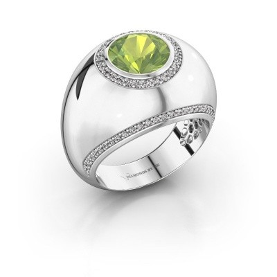 Ring Roxann 585 white gold peridot 8 mm