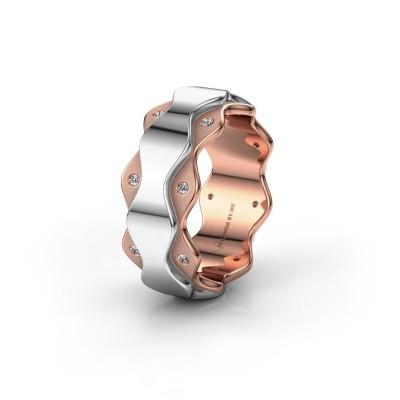 Trouwring WH2033L 585 rosé goud diamant ±7x2.4 mm