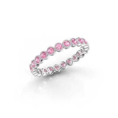 Foto van Ring Mariam 0.03 585 witgoud roze saffier 2 mm