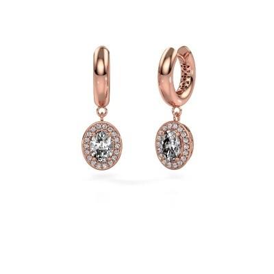Drop earrings Annett 375 rose gold zirconia 7x5 mm