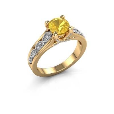 Aanzoeksring Clarine 585 goud gele saffier 6.5 mm