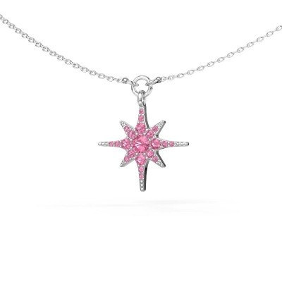 Halsketting Star 925 zilver roze saffier 3 mm