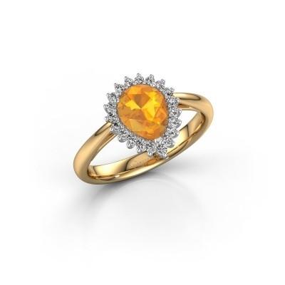 Foto van Verlovingsring Tilly per 1 585 goud citrien 8x6 mm