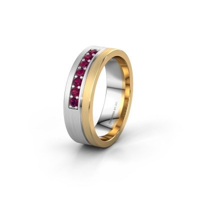 Trouwring WH0312L16AM 585 witgoud rhodoliet ±6x1.7 mm