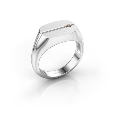 Foto van Herenring Stijn 950 platina bruine diamant 0.03 crt