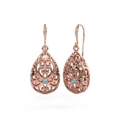 Picture of Drop earrings Idalia 2 375 rose gold blue topaz 2 mm