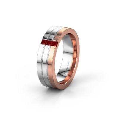 Wedding ring WH0428L16BP 585 rose gold ruby ±0.24x0.08 in