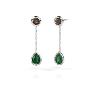 Picture of Drop earrings Ladawn 950 platinum emerald 7x5 mm