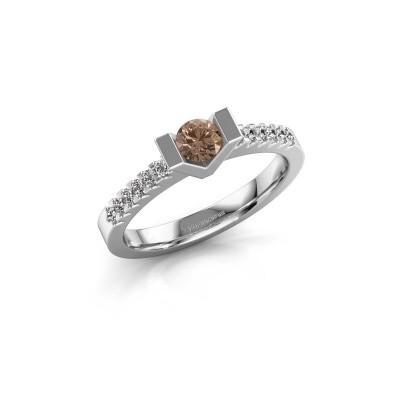 Verlovingsring Sherley 2 950 platina bruine diamant 0.43 crt