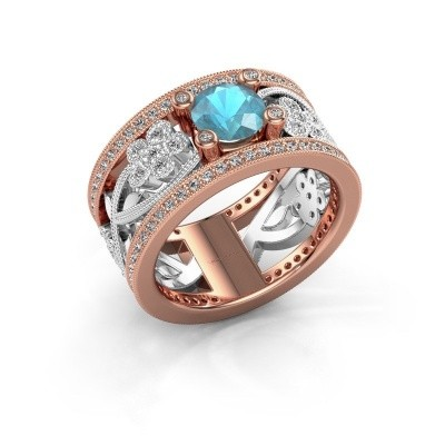 Ring Severine 585 rosé goud blauw topaas 6 mm