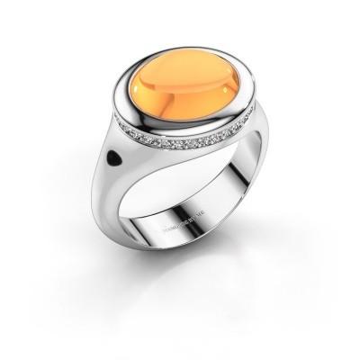 Foto van Ring Lesli ovl 950 platina citrien 12x10 mm