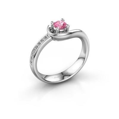 Foto van Ring Ceylin 585 witgoud roze saffier 4 mm