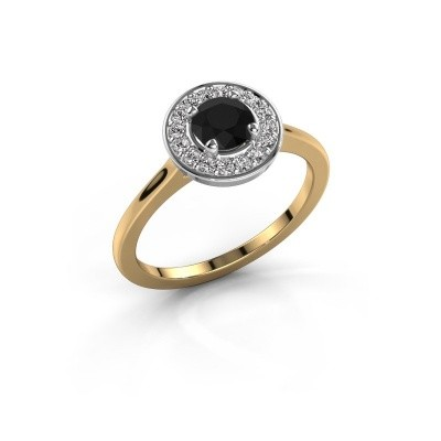 Ring Agaat 1 585 goud zwarte diamant 0.76 crt