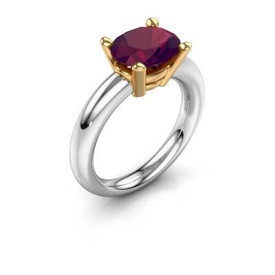Ring Janiece 585 witgoud rhodoliet 10x8 mm