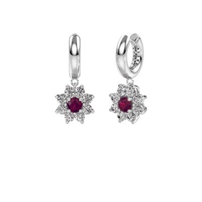 Drop earrings Geneva 1 585 white gold rhodolite 4.5 mm