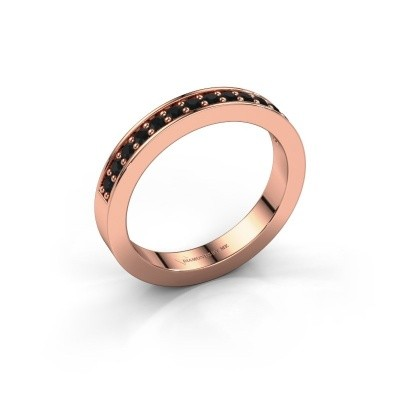 Stackable ring Loes 6 375 rose gold black diamond 0.336 crt