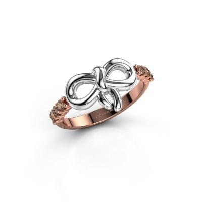 Ring Olympia 585 rosé goud bruine diamant 0.27 crt