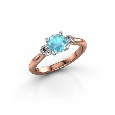 Picture of Engagement ring Lieselot RND 585 rose gold blue topaz 6.5 mm