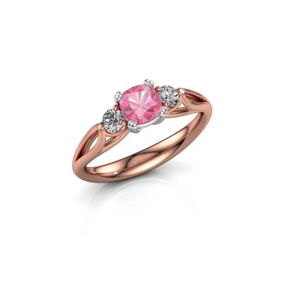 Foto van Verlovingsring Amie cus 585 rosé goud roze saffier 5 mm