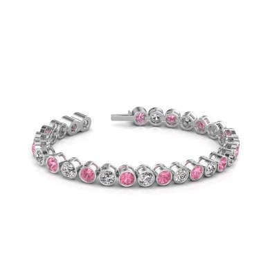 Photo de Bracelet tennis Mandi 585 or blanc saphir rose 5 mm