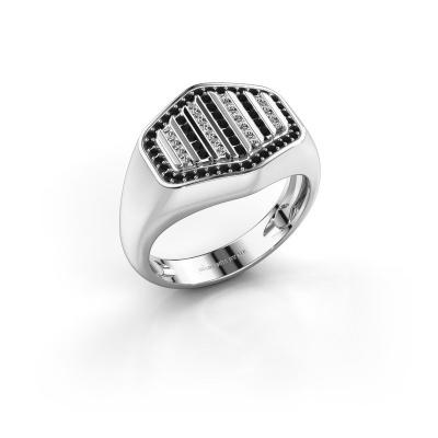Herrenring Beau 585 Weißgold Schwarz Diamant 0.519 crt