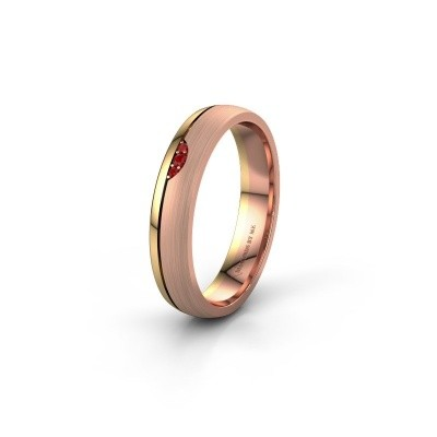 Wedding ring WH0334L24X 585 rose gold ruby ±4x1.5 mm