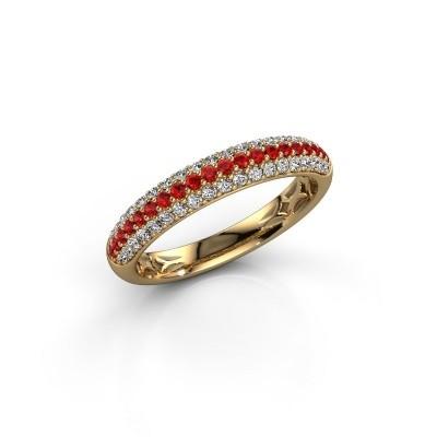 Foto van Ring Emely 2 375 goud robijn 1.3 mm
