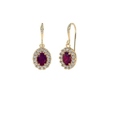Picture of Drop earrings Jorinda 2 585 gold rhodolite 7x5 mm