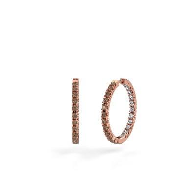 Foto van Creolen Miki 20mm 375 rosé goud bruine diamant 1.38 crt