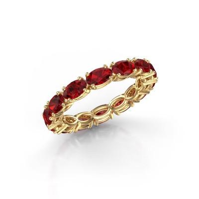 Foto van Ring Vivienne OVL 5x3 375 goud robijn 5x3 mm