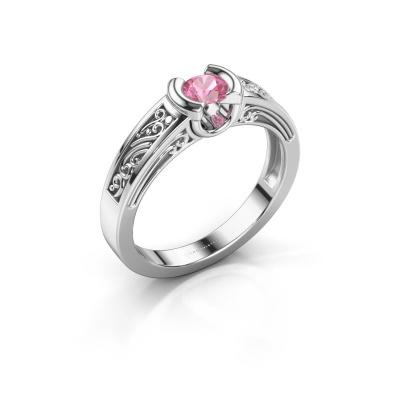 Foto van Verlovingsring Elena 925 zilver roze saffier 4 mm