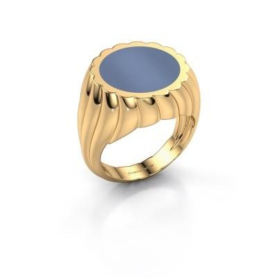 Foto van Zegelring Mano 585 goud licht blauwe lagensteen 13 mm